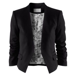 H&M • HM CROPPED BLAZER FLORAL LINING BLACK SIZE 6